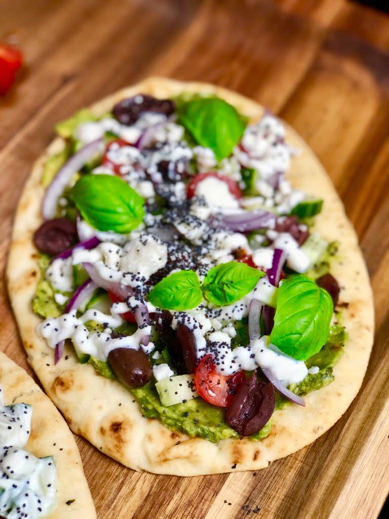 Greek Salad on Naan Bread