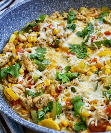 Mexican Chicken and Zucchini cooked in one skillet