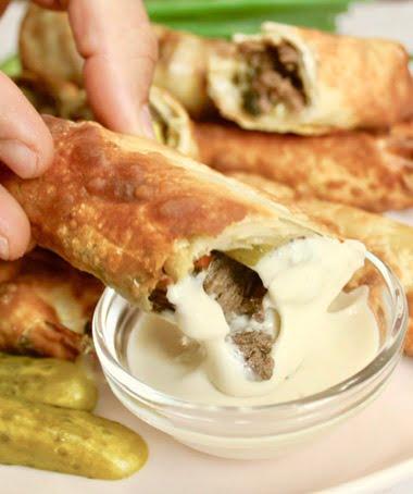 Beef Shawarma egg rolls with tahini sauce