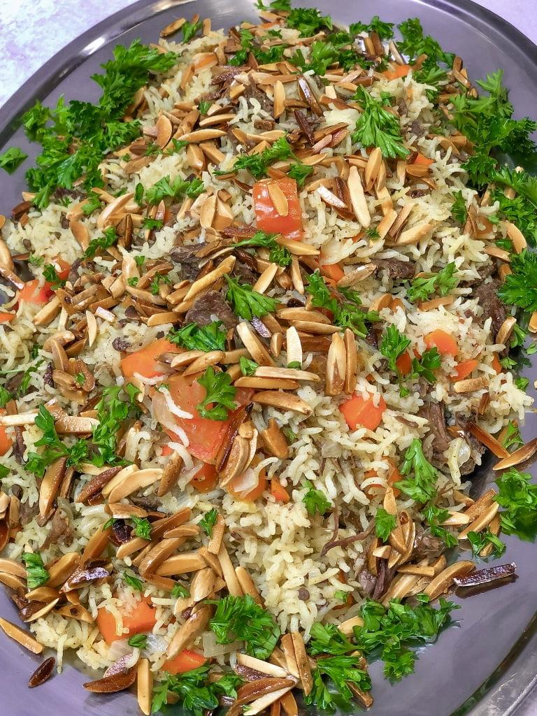kabsa rice recipe with beef, lamb kabsa, kabsa spice,