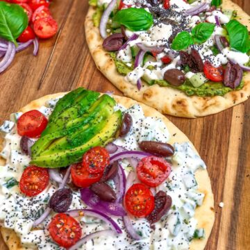 Greek Salad on Tandoori Garlic Naan Bread
