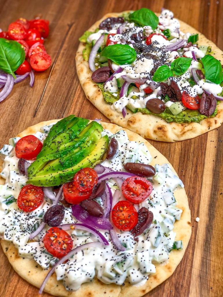 Greek Salad on Tandoori Garlic Naan Bread recipe