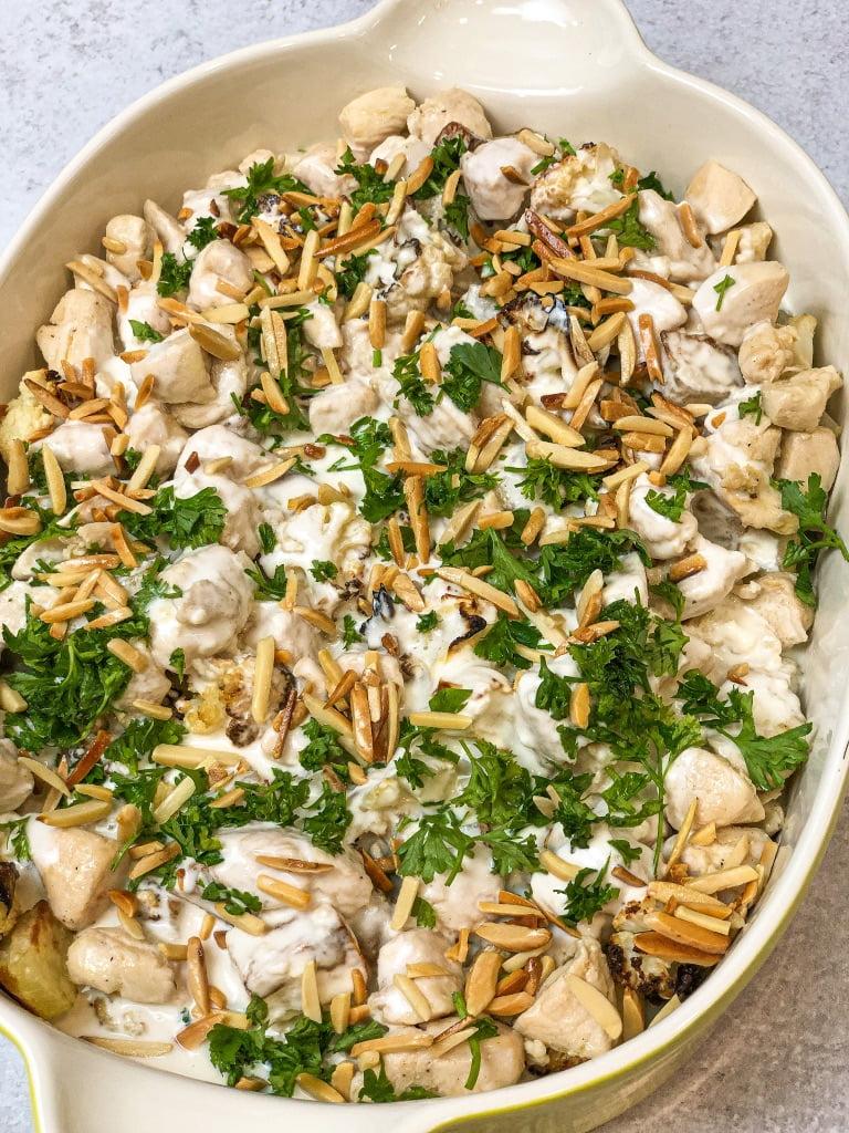 Cauliflower Chicken Tahini Bake