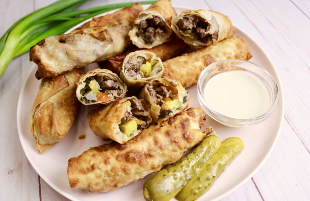 Air Fried Egg Rolls - egg rolls vs spring rolls - this is a beef shawarma egg roll that can be air fried, deep fried or baked