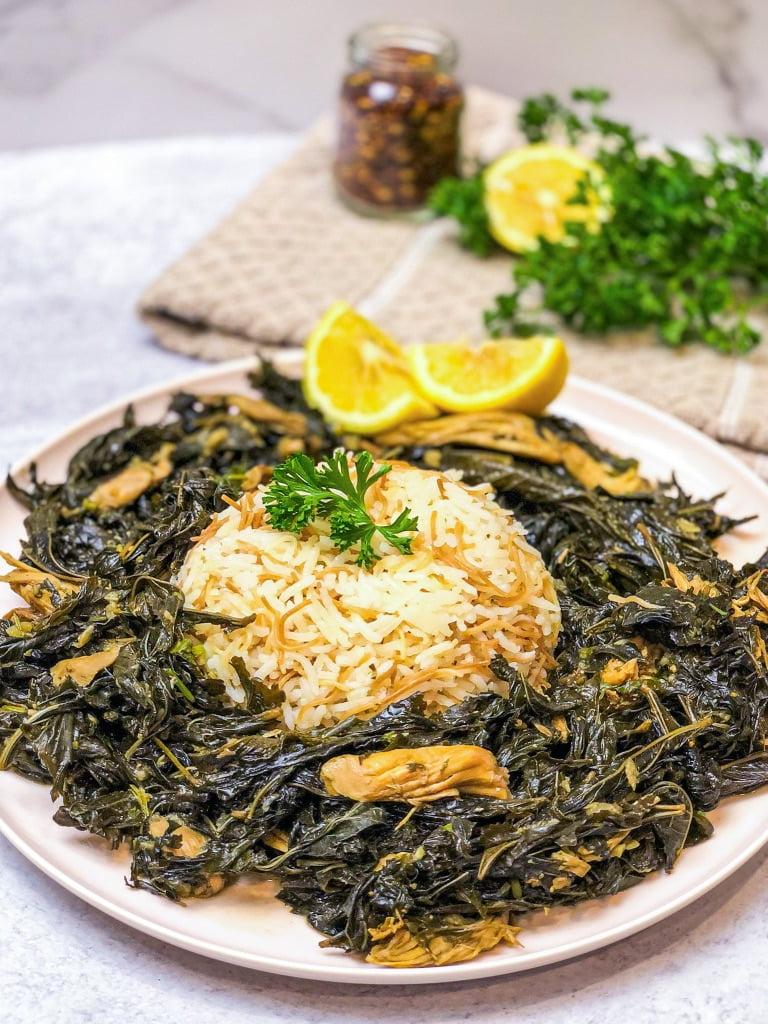 molokhia or mloukhieh with chicken also known as molokhia lebanese