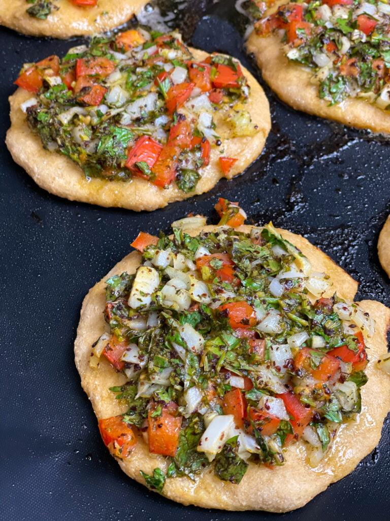 Lebanese Veggie Pie, veggie cream cheese pizza, parsley on pizza, herb pizza