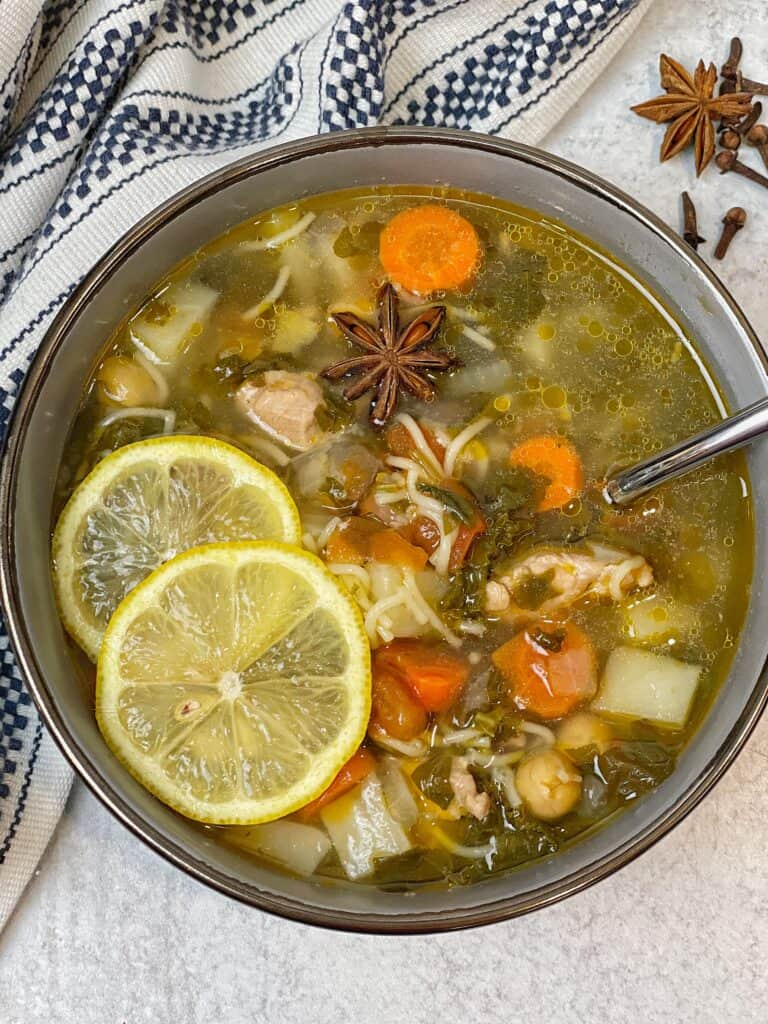 Best Chicken noodle soup recipe with healing powers since it includes immunity boosting ingredients like garlic, turmeric, clove, cinnamon, ginger and so much more