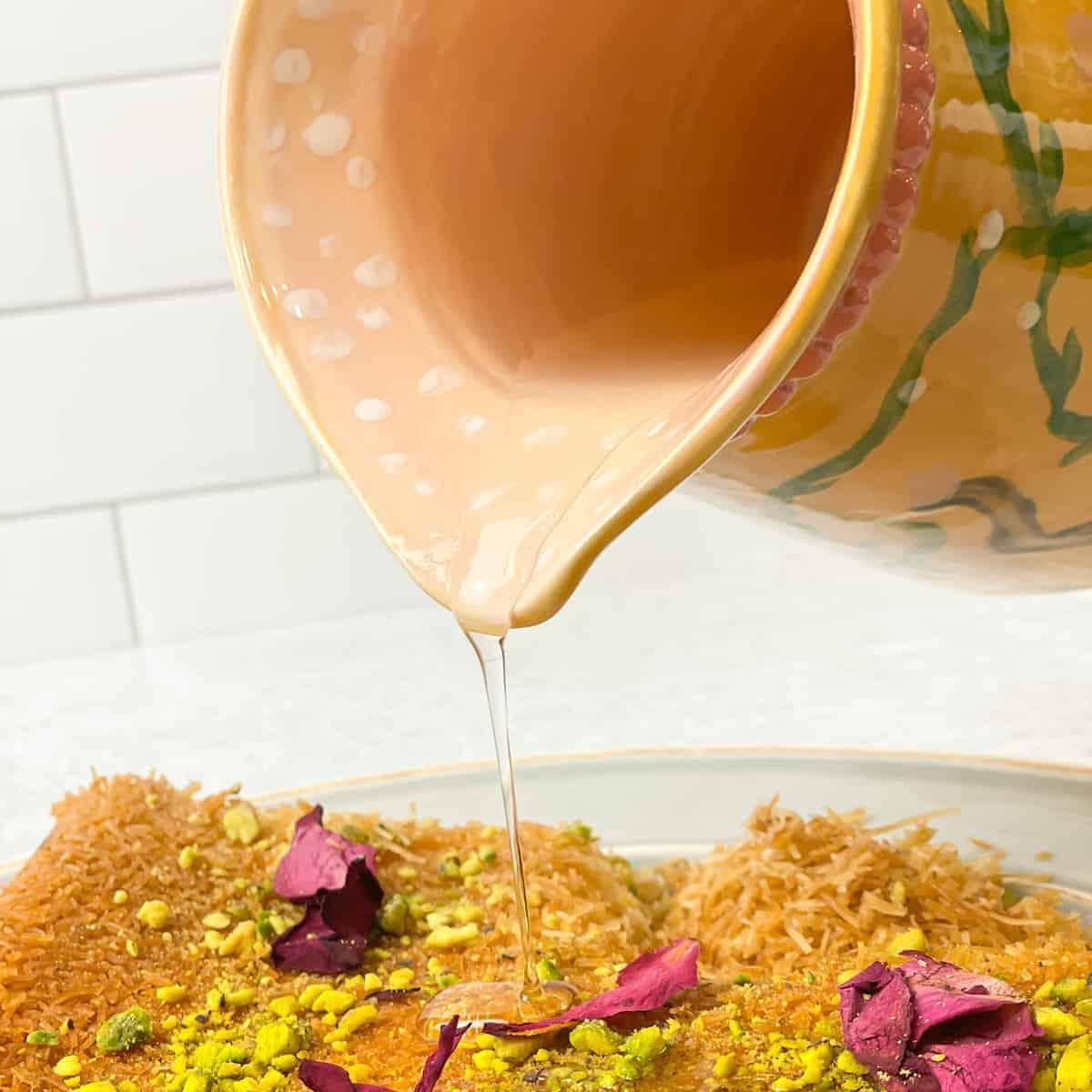 Atir which is also known as simple syrup is used on many middle eastern desserts like kanafa, kunafa, chanafa, atayif, halawit el jibn, atayef, qatayif,