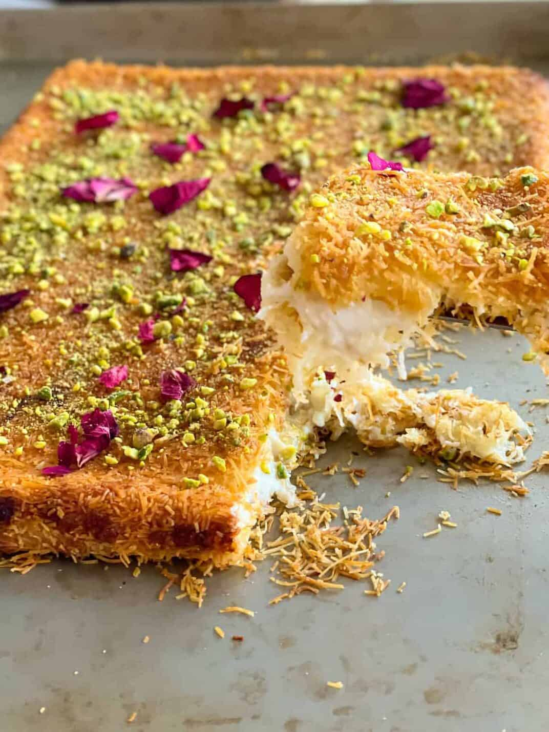 Kunafa Ashta Recipe with delicious phyllo dough, clotted-cream and cheese filling that is an easy dessert with simple ingredients. Also called knafeh, konafeh