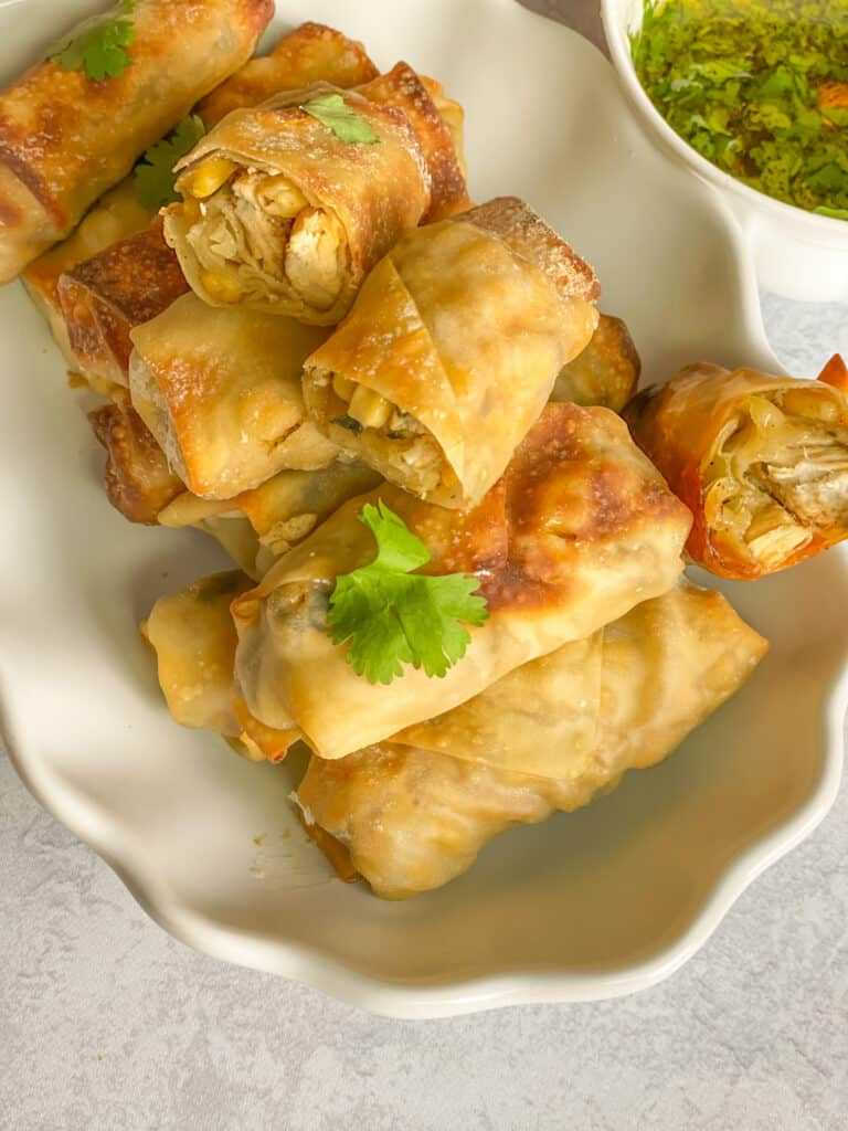 Baked or Fried Cilantro Chicken Egg Rolls with dipping sauce