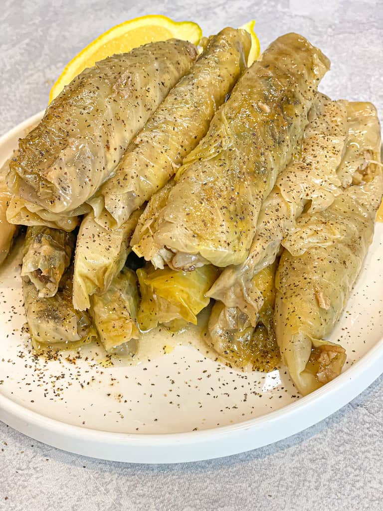 Stuffed cabbage rolls also known as malfouf