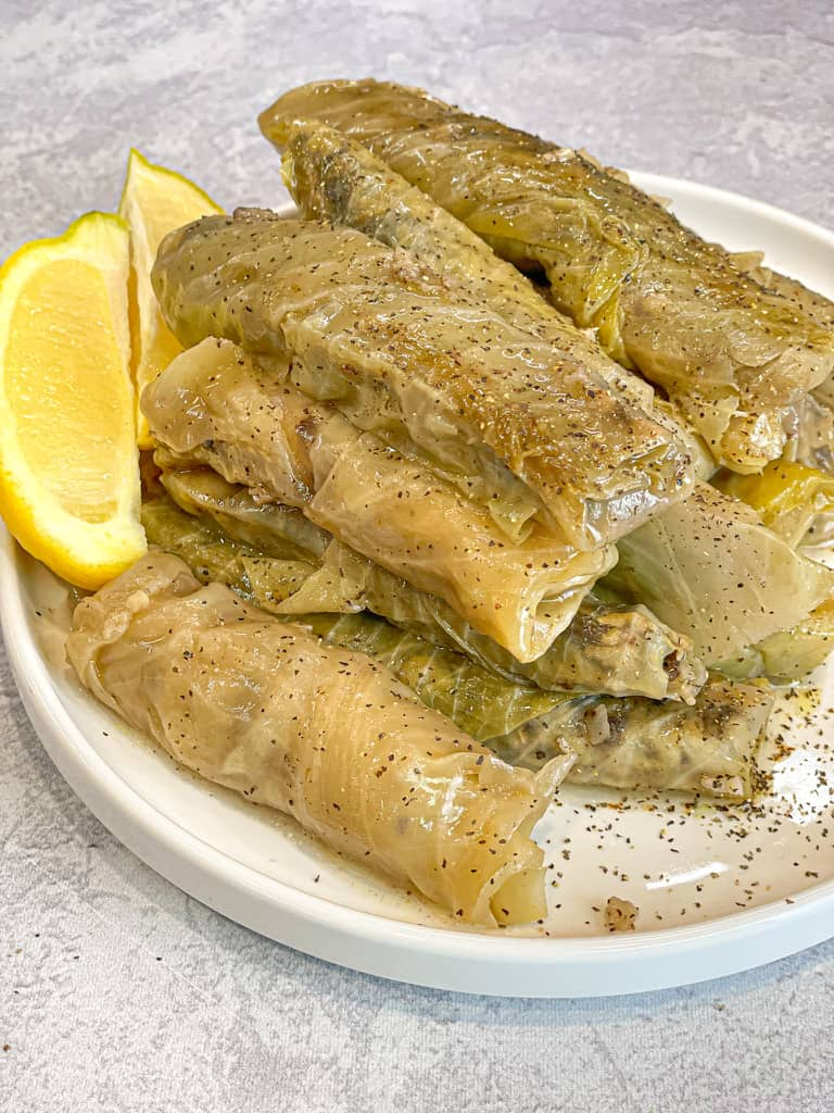 Malfoof recipe also known as stuffed cabbage leaf recipe is a delicious dish.  Lebanese stuffed cabbage is made with ground meat, rice, onions, olive oil, seven spices and lemon.