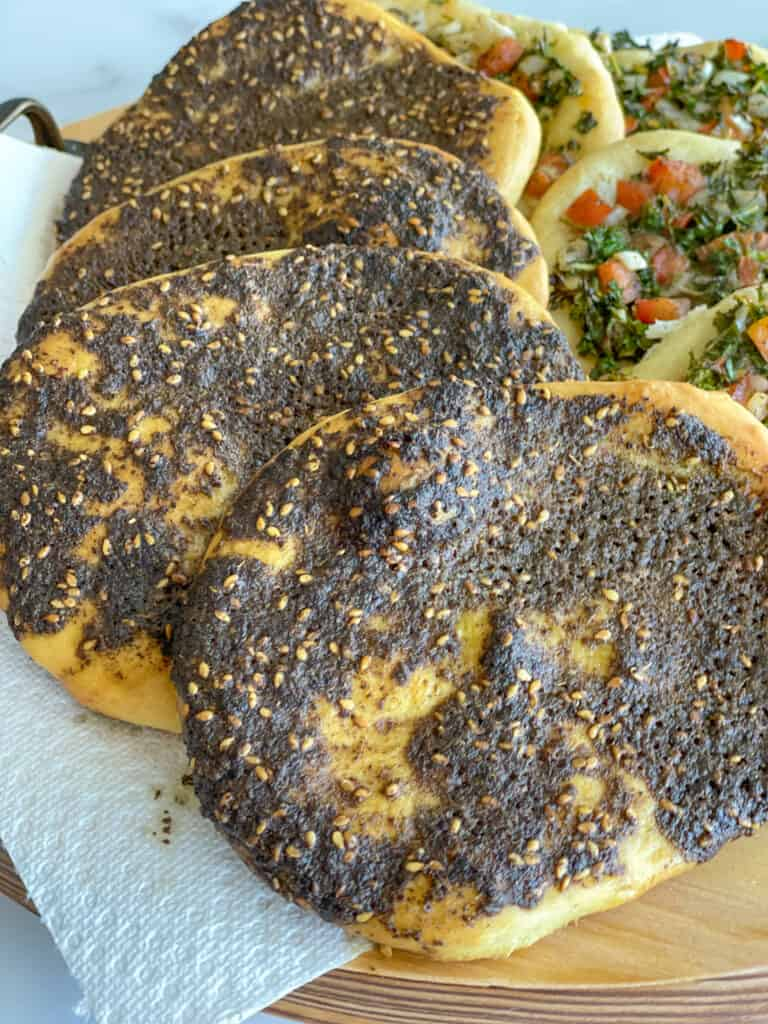 zaatar pizza, zaatar bread recipe, manakish recipe