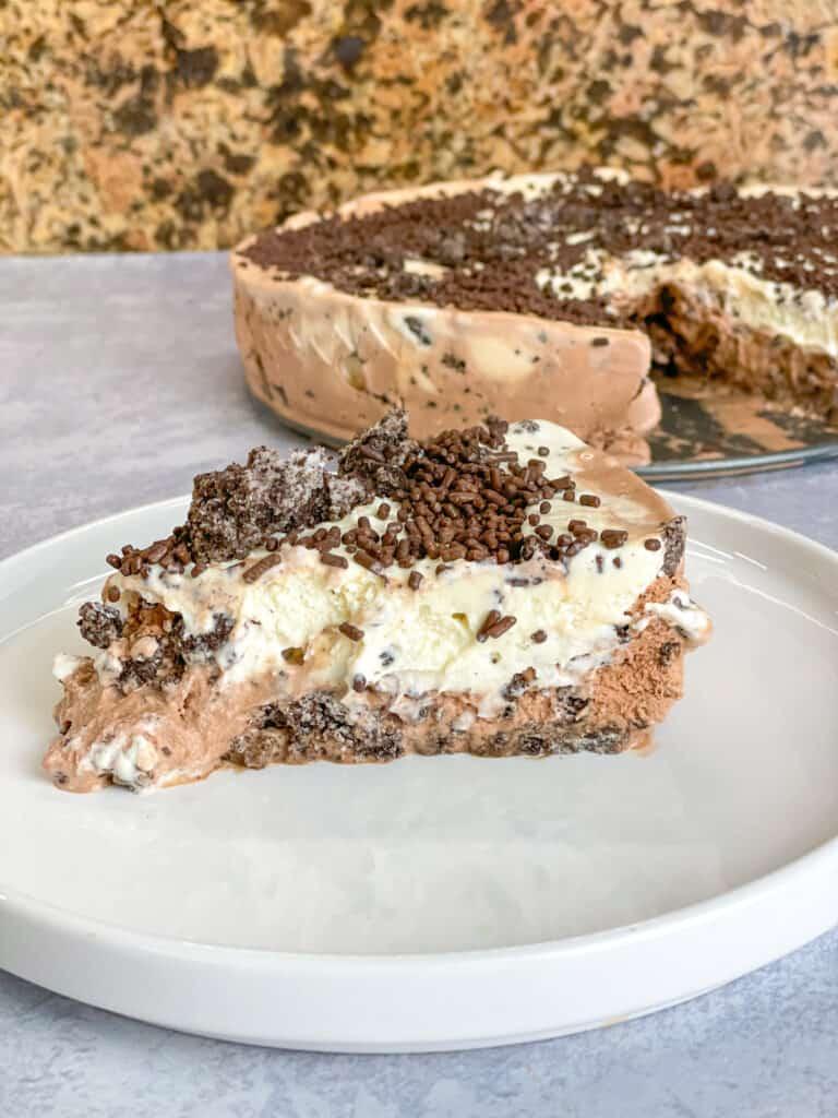 oreo cream cake which is ice cream sandwich cake with oreos