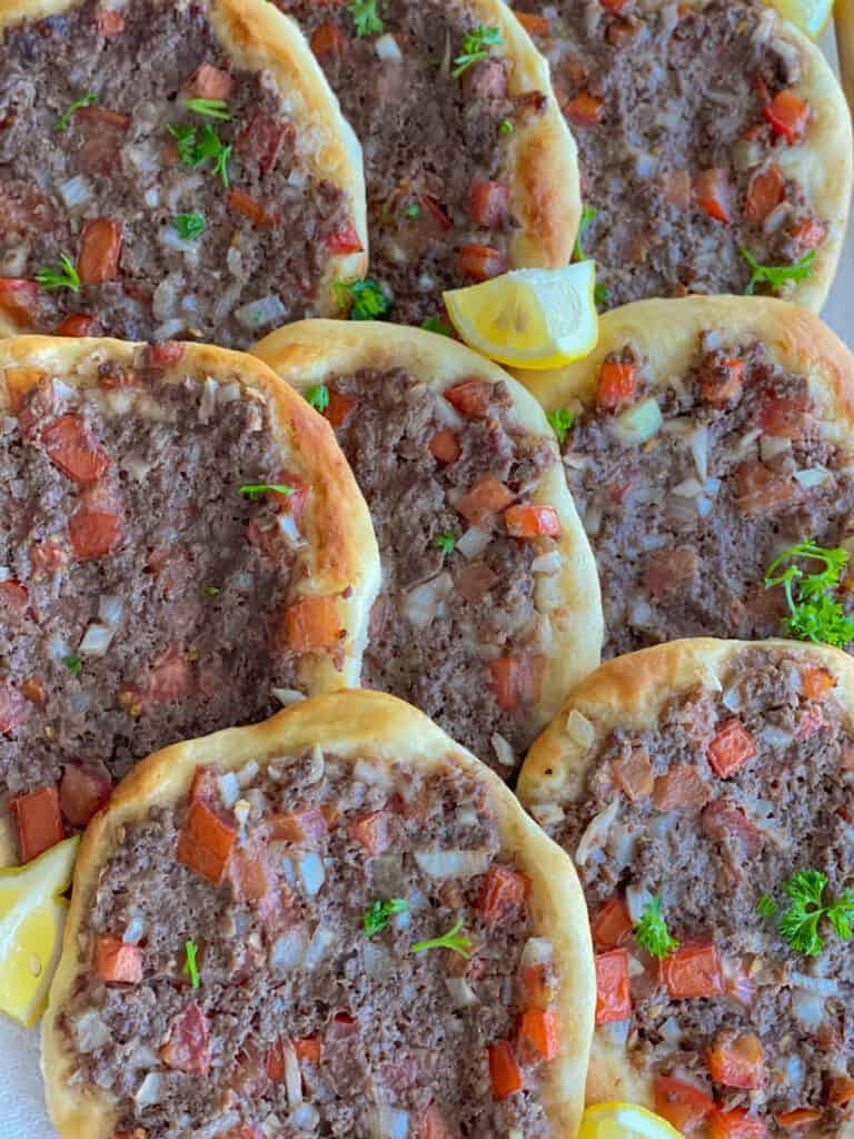 lahm bi ajeen recipe, lebanese meat pies, lahmacun, meat pie recipe