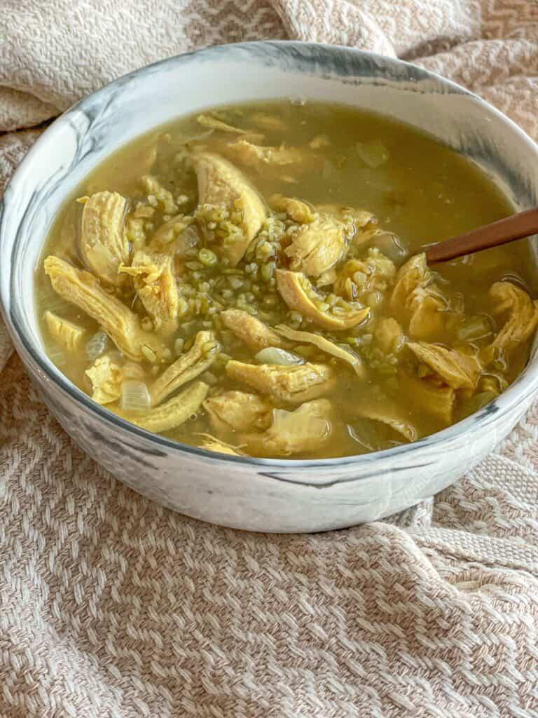 Durum Wheat Chicken Soup (Frikeh, Freekeh, Freekah, Farik, Frik) is a wholesome delicious soup that can be a main dish!