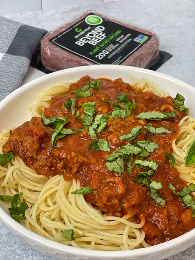 This Beyond Meat® plant-based non-GMO ground beef meat substitute is perfect for this easy Vegan Spaghetti Bolognese recipe!