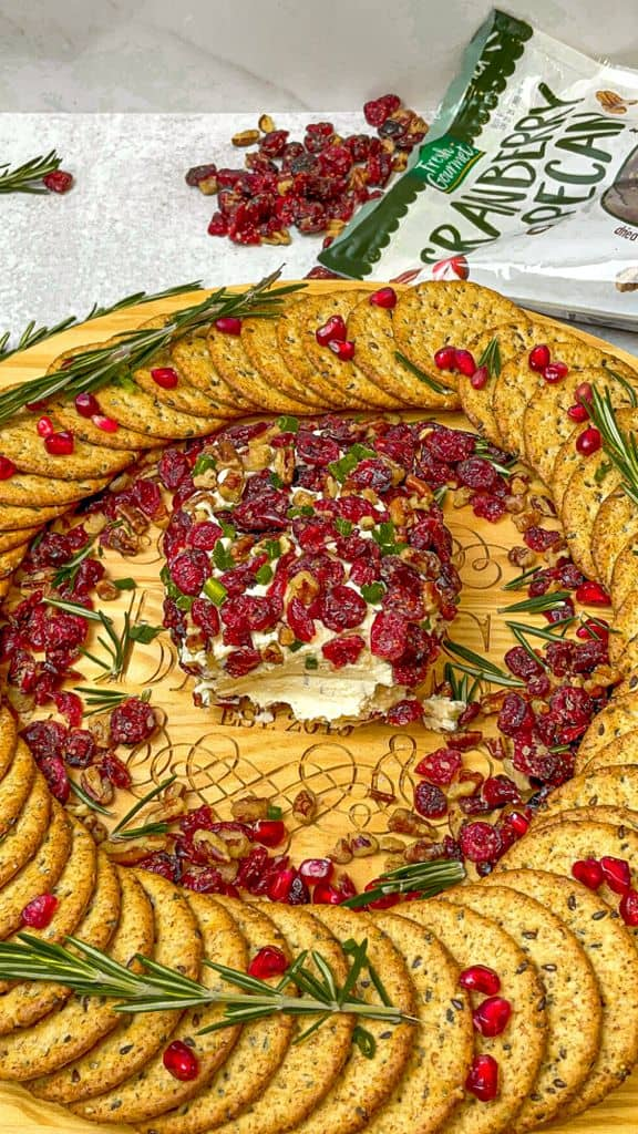 Roasted Pecan and Cranberry Cheeseball Tray is a savory, creamy cheese dip perfect for any occasion