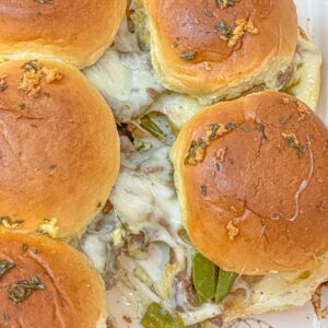 Tasty easy and delicious Philly Cheesesteak sliders with Worcestershire sauce