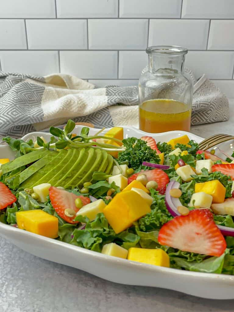 citrus vinaigrette glazed strawberry mango kale salad