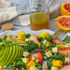 Citrus Vinaigrette Strawberry Mango Kale Salad