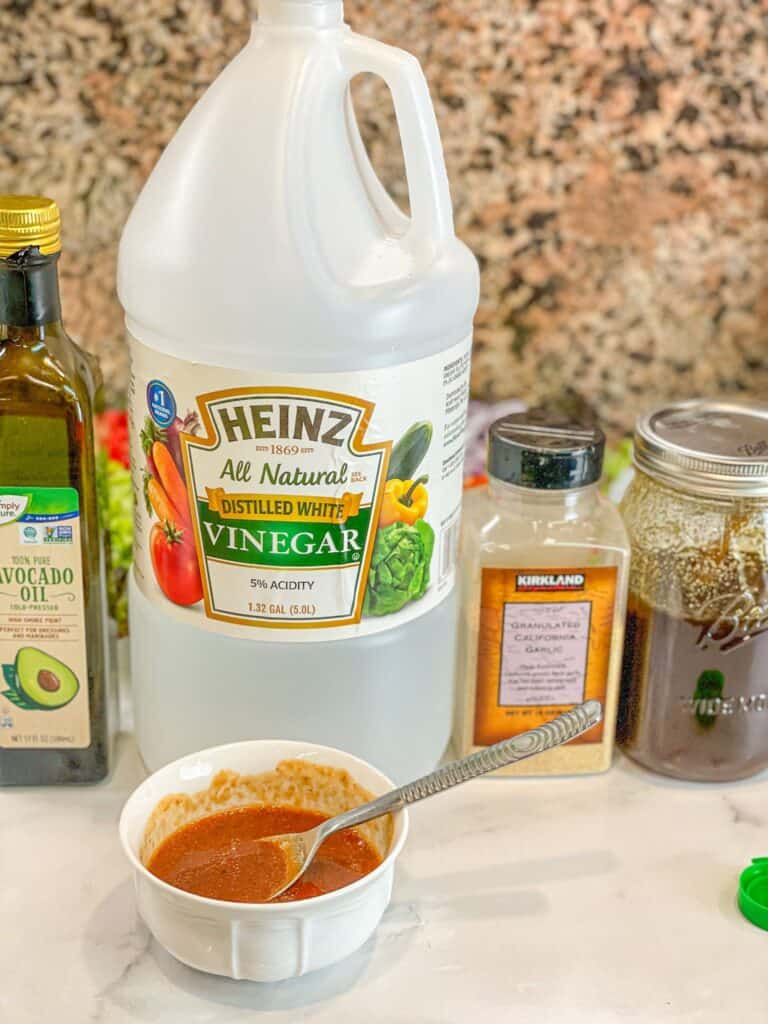 The vinaigrette dressing is sweet and tangy, plant based chicken nuggets