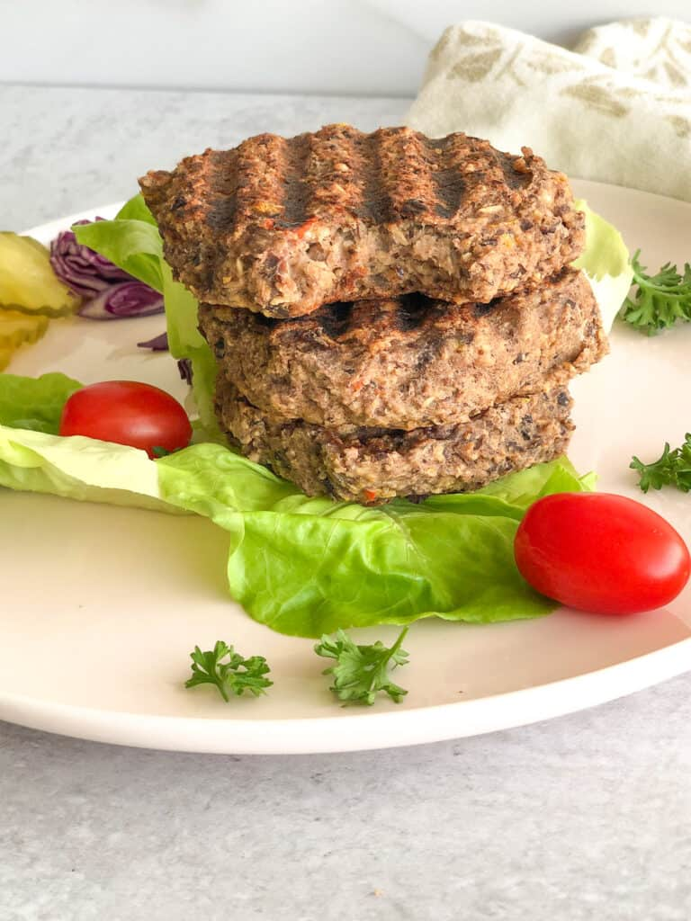 Vegan Black Bean Burger made with beans and oats