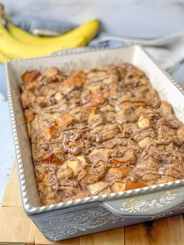 Easy chocolatey delicious banana bread pudding recipe