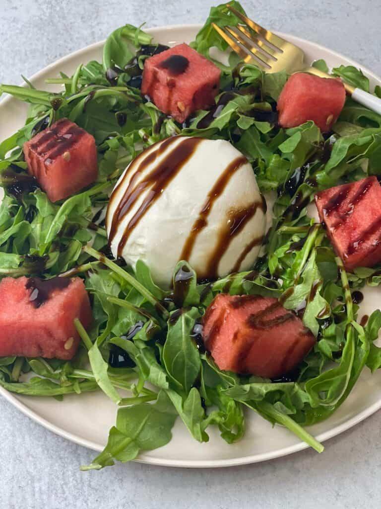 tangy sweet savory burrata arugula watermelon salad
