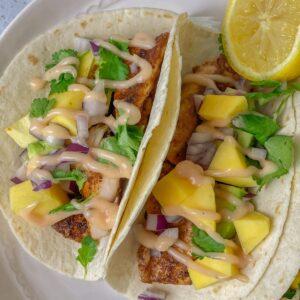 Blackened Mahi Mahi fish tacos for easy and quick taco Tuesday dinners