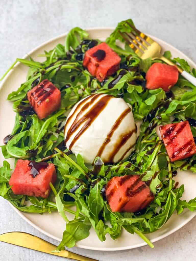 A combination of sweet, tangy, and savory in this watermelon burrata salad